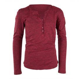 T-shirt à manches longues rouge chiné à boutons enfants BEST MOUNTAIN marque pas cher prix dégriffés destockage