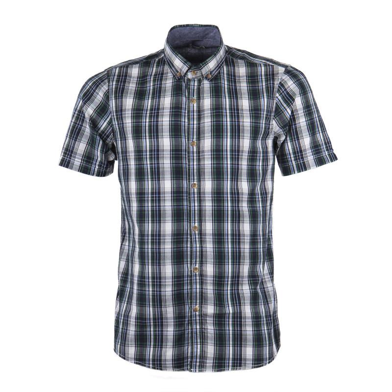Chemise manches courtes à carreaux bleus et verts homme BEST MOUNTAIN marque pas cher prix dégriffés destockage