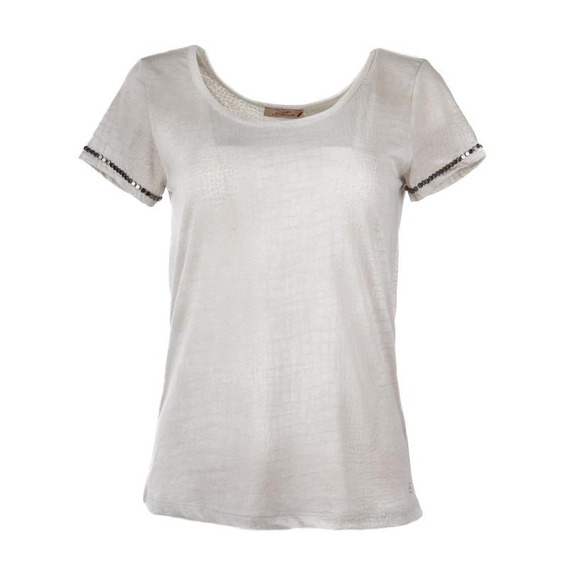 T-shirt manches courtes beige imprimé serpent femme DDP marque pas cher prix dégriffés destockage