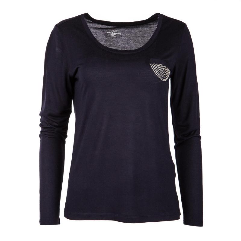 T-shirt à manches longues noir poche détails chaîne femme DDP marque pas cher prix dégriffés destockage