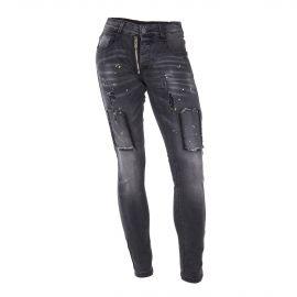 Jean skinny stretch noir empiècements déchiriés homme BLUE SPENCER'S marque pas cher prix dégriffés destockage
