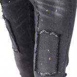 Jean skinny stretch noir déchiré empiècements Homme BLUE SPENCER'S marque pas cher prix dégriffés destockage