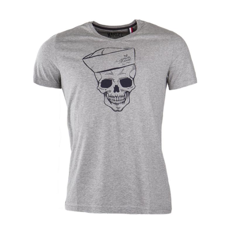 Tee shirt motif tête de mort homme LITTLE MARCEL marque pas cher prix dégriffés destockage