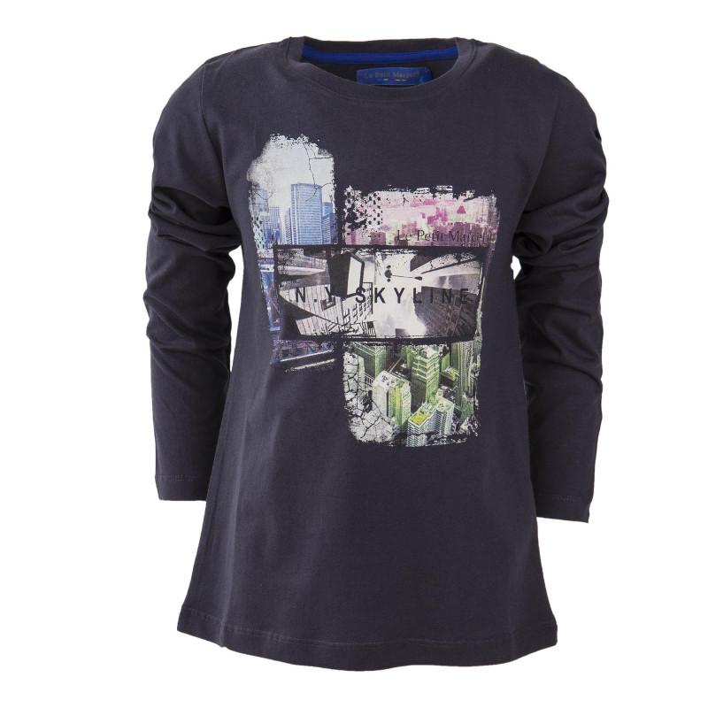 Tee-shirt manches longues gris foncé garçon LITTLE MARCEL marque pas cher prix dégriffés destockage