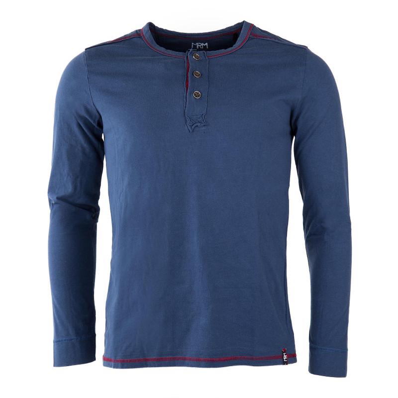 Tee shirt bleu col tunisien homme LITTLE MARCEL marque pas cher prix dégriffés destockage