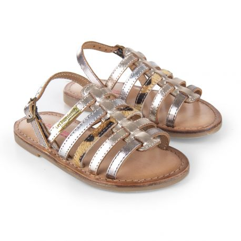 Sandales à brides en cuir fille LILOU LES TROPEZIENNES marque pas cher prix dégriffés destockage