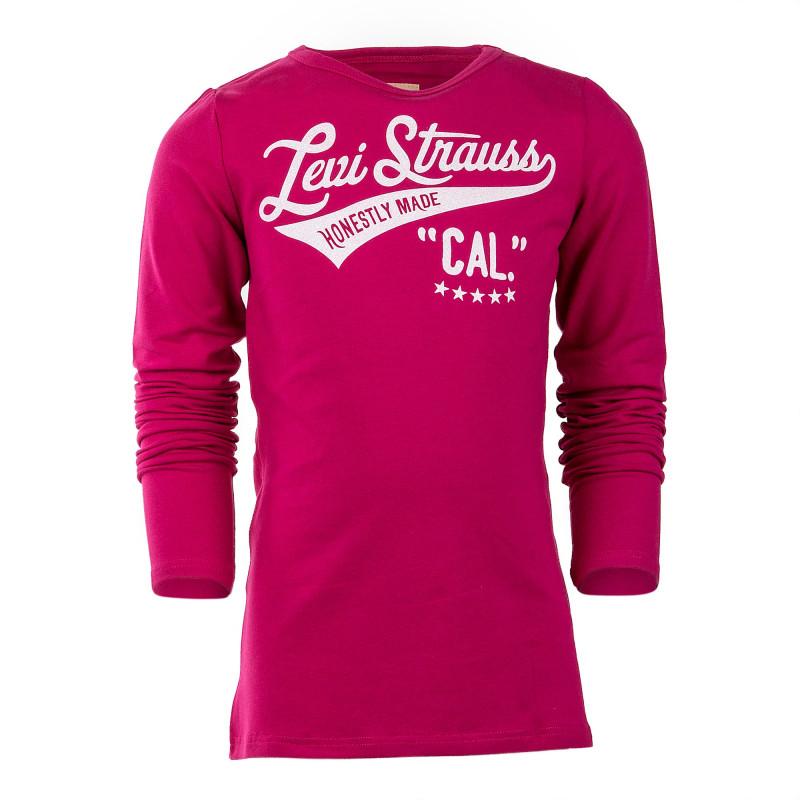 Tee shirt manches longues rose fille LEVI'S marque pas cher prix dégriffés destockage