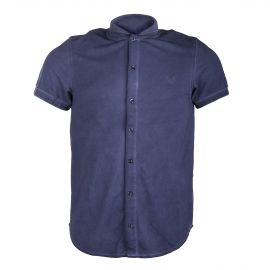 Chemise manches courtes piquée style polo homme HBT
