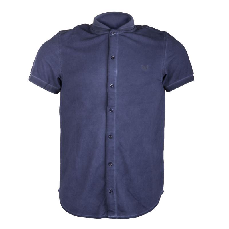 Chemise manches courtes piquée style polo homme HBT marque pas cher prix dégriffés destockage