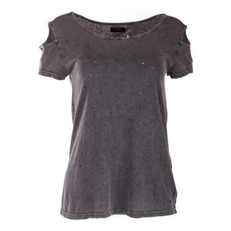 Tee Shirt Gris Anthracite Destroy Femme On You