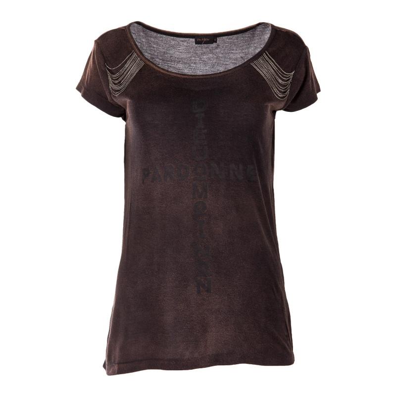 Tee shirt détails chaînes et inscription femme ON YOU marque pas cher prix dégriffés destockage