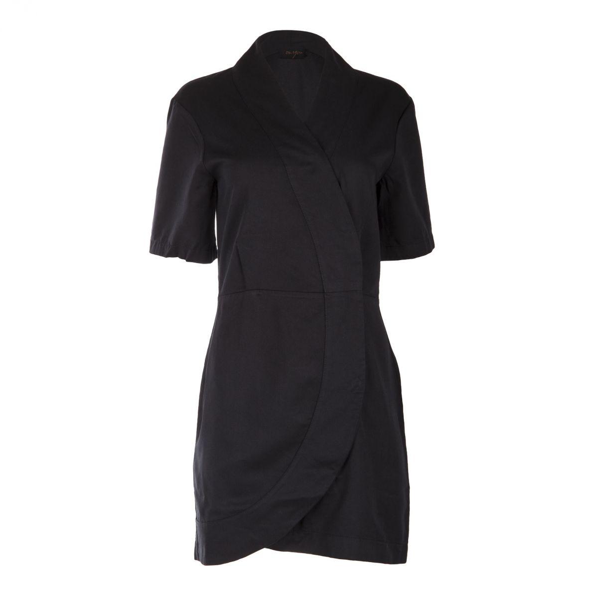 robe noire portefeuille manches courtes femme on you prix. Black Bedroom Furniture Sets. Home Design Ideas
