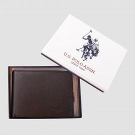 Porte monnaie noir en simili cuir homme US POLO marque pas cher prix dégriffés destockage