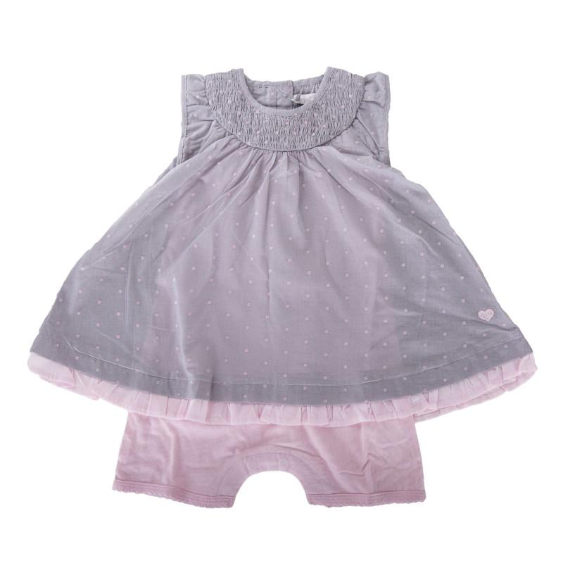 Combinaison grise à pois rose bébé ABSORBA marque pas cher prix dégriffés destockage