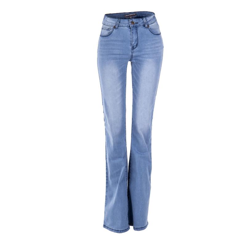 Jean flare taille haute bleu clair femme BEST MOUNTAIN marque pas cher prix dégriffés destockage
