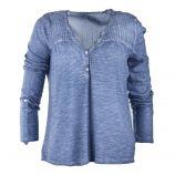 Tee shirt bleu délavé col tunisien femme BEST MOUNTAIN marque pas cher prix dégriffés destockage