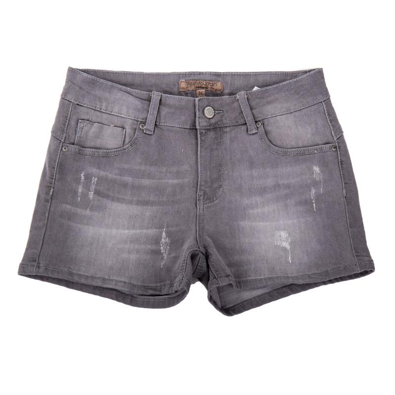 Short en jean gris détails destroy coupe skinny femme BEST MOUNTAIN marque pas cher prix dégriffés destockage