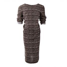 Robe manches longues motifs aztèques noir et beige fille BEST MOUNTAIN marque pas cher prix dégriffés destockage