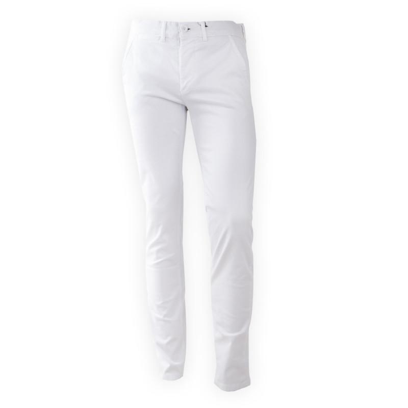 Pantalon en toile blanc coupe slim homme BEST MOUNTAIN marque pas cher prix dégriffés destockage