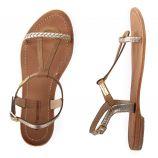 Sandales camel et dorées tressées HATRESS femme LES TROPEZIENNES marque pas cher prix dégriffés destockage