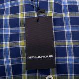 Chemise bleue à carreaux manches courtes homme TED LAPIDUS marque pas cher prix dégriffés destockage
