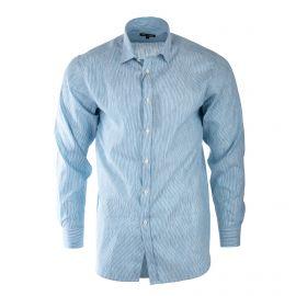 Chemise bleu clair à rayures homme TED LAPIDUS marque pas cher prix dégriffés destockage