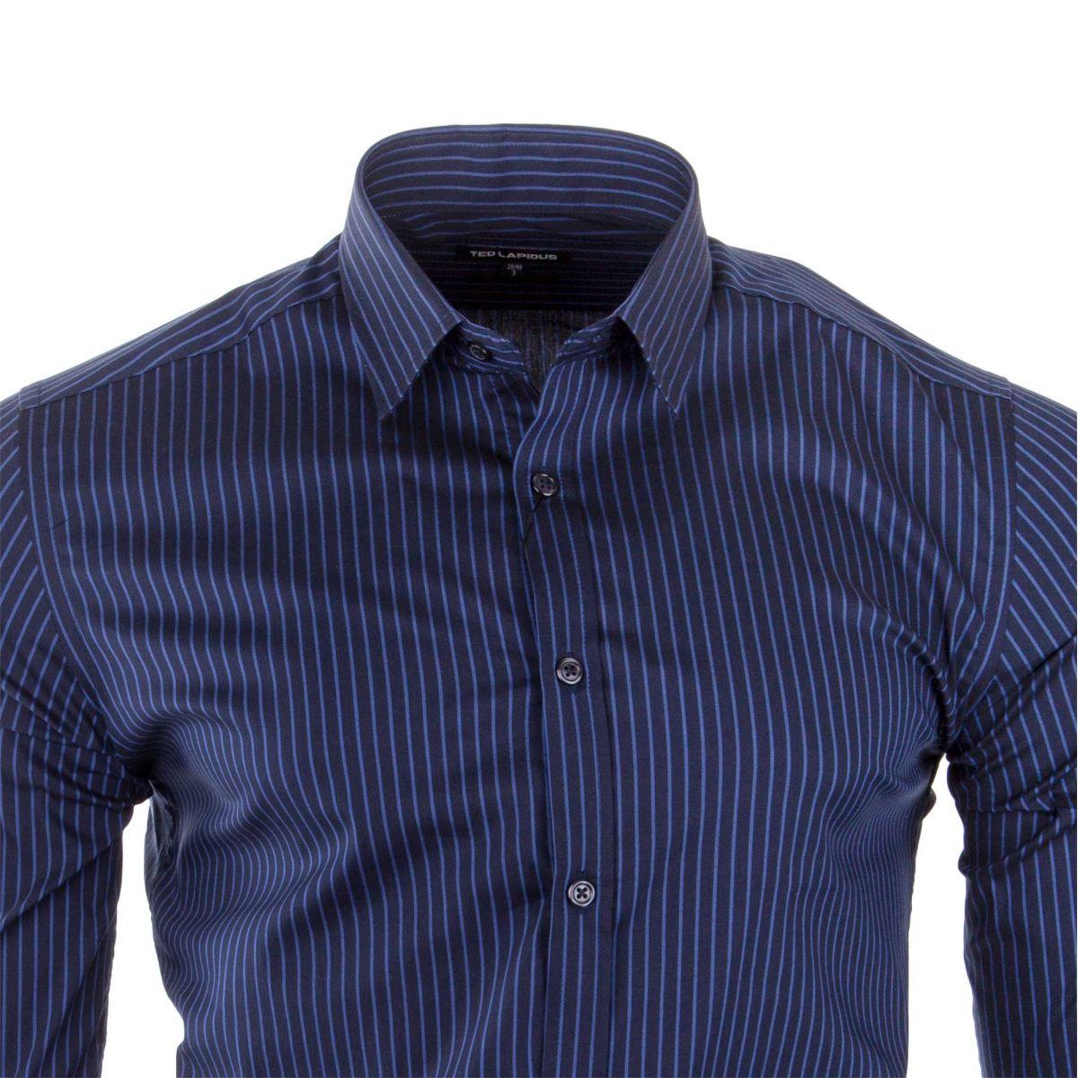 b82c6388193 ... Chemise à rayures manches longues homme TED LAPIDUS marque pas cher  prix dégriffés destockage ...