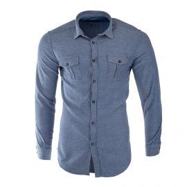 Chemise bleue manches longues homme TED LAPIDUS marque pas cher prix dégriffés destockage