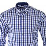 Chemise bleue à carreaux manches longues homme TED LAPIDUS marque pas cher prix dégriffés destockage