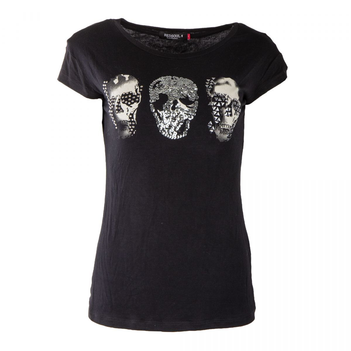 3f3d3382f48f Tee shirt sequins motif tête de mort femme RED SOUL marque pas cher prix  dégriffés destockage ...