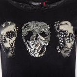 Tee shirt sequins motif tête de mort femme RED SOUL marque pas cher prix dégriffés destockage