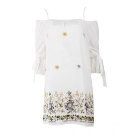 Robe en coton col bardot et broderies florales femme JAD