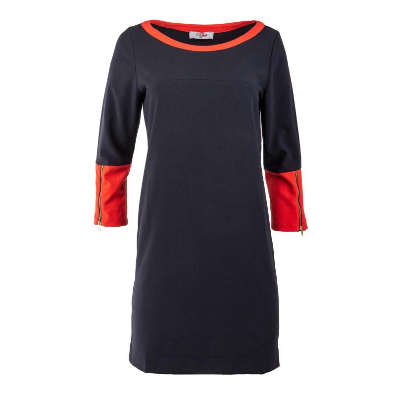 Robe rouge et noire manches 3/4 femme JAD marque pas cher prix dégriffés destockage