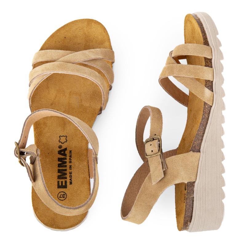 le plus populaire prix plancher En liquidation Sandales en cuir petit talon compensé femme EMMA
