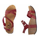 Sandales compensées rouges femme WHY LAND marque pas cher prix dégriffés destockage