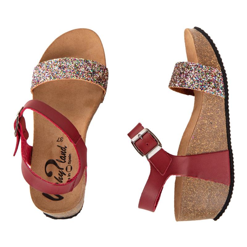 Sandales compensées à paillettes femme WHY LAND marque pas cher prix dégriffés destockage