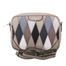 Petit sac bandoulière beige motifs triangle femme CHRISTIAN LACROIX marque pas cher prix dégriffés destockage