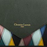 Petit sac bandoulière vert bouteille détails triangles femme CHRISTIAN LACROIX marque pas cher prix dégriffés destockage