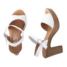 Sandales à talons en cuir blanc femme ISSA MIEL marque pas cher prix dégriffés destockage