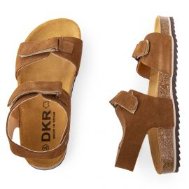 Sandales en cuir camel à scratchs garçon DKR