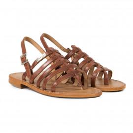 Sandales camel plates en cuir femme HERIBER Les Tropéziennes