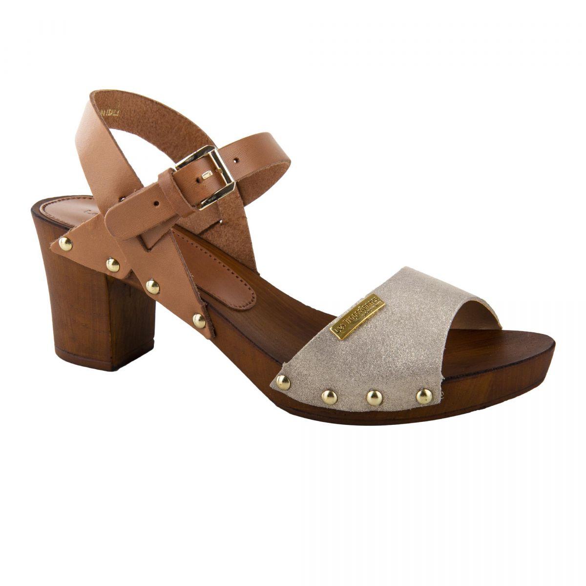 regard détaillé large sélection Prix 50% Sandales en cuir doré à petit talon VIENNA femme LES ...