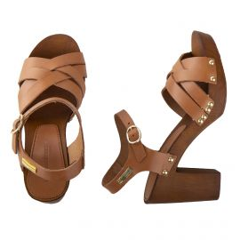 Sandales à talons en bois VALENTIA femme LES TROPEZIENNES marque pas cher prix dégriffés destockage