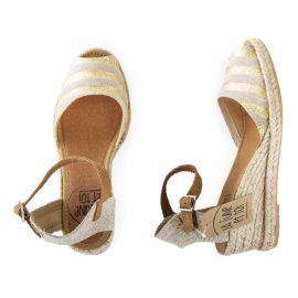 Sandales compensées beige et doré femme La lune et toi