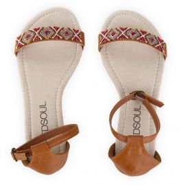 Sandales camel à perles femme RED SOUL marque pas cher prix dégriffés destockage