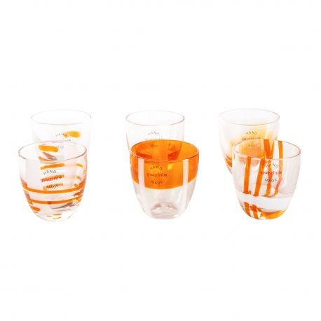 Lot de 6 verres à liqueur oranges GUZZINI marque pas cher prix dégriffés destockage