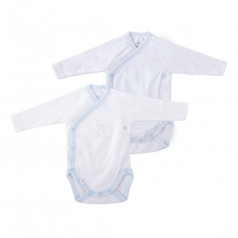 Lot de 2 bodys bleus naissance bébé ABSORBA marque pas cher prix dégriffés destockage