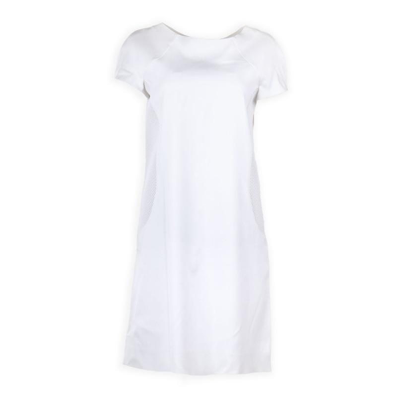 Robe manches courtes détails résille blanche femme COURREGES marque pas cher prix dégriffés destockage