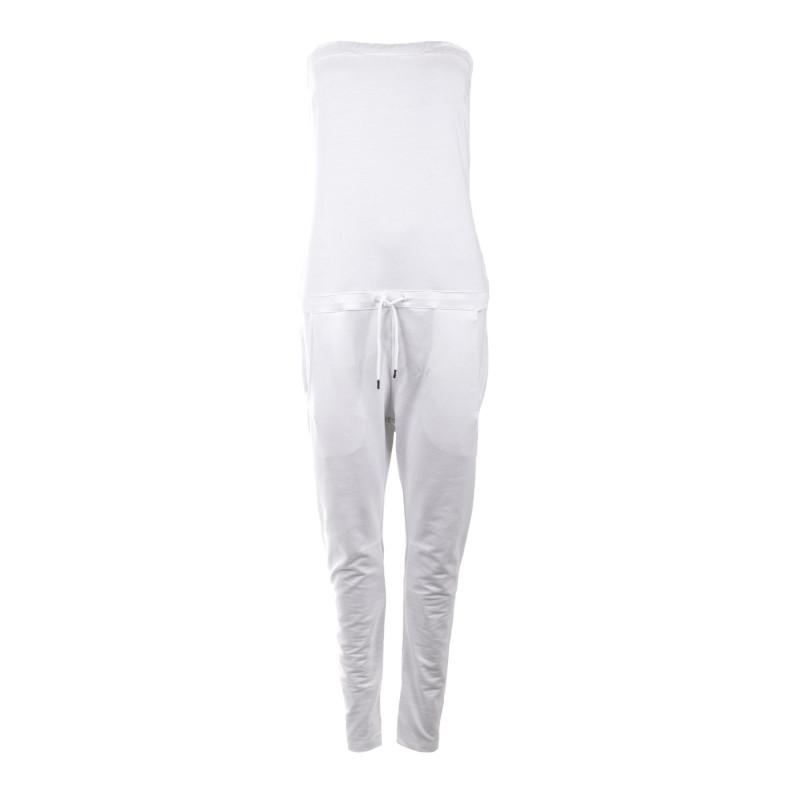 Combinaison blanche longue bustier en coton femme HBT marque pas cher prix dégriffés destockage
