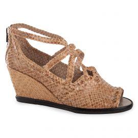 Sandales compensées tressées en cuir beige femme KARIDA